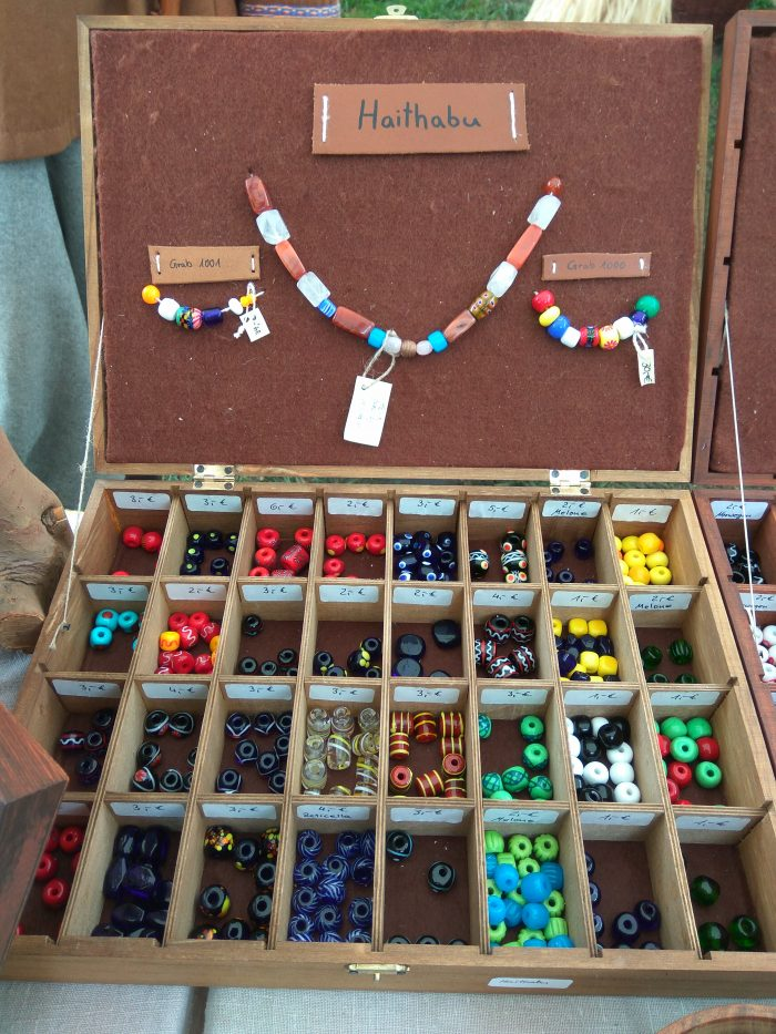 Entwerkstatt's glass beads at Hedeby Viking market Sarah Dahl blog